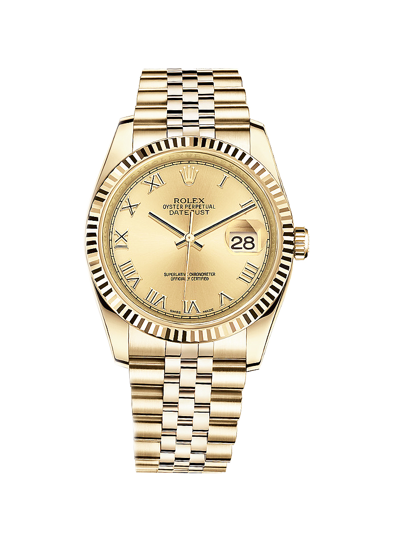 Pre-Owned Rolex Datejust 36mm in Yellow Gold with Fluted Bezel