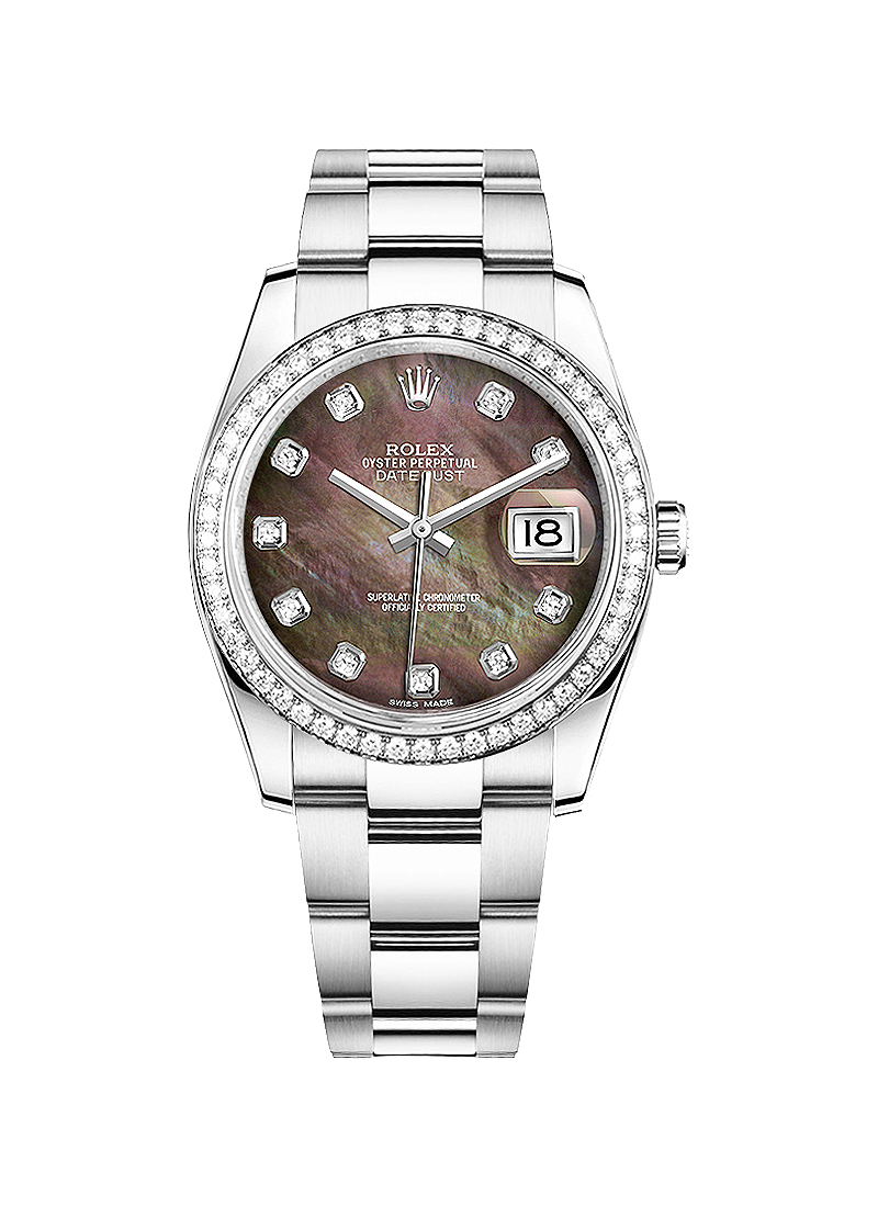 Pre-Owned Rolex Datejust 36mm in Steel with Diamond Bezel