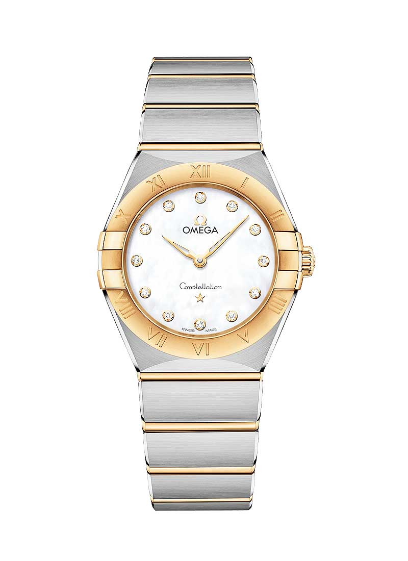 Omega Constellation Manhattan 28mm in Steel with Yellow Gold Bezel