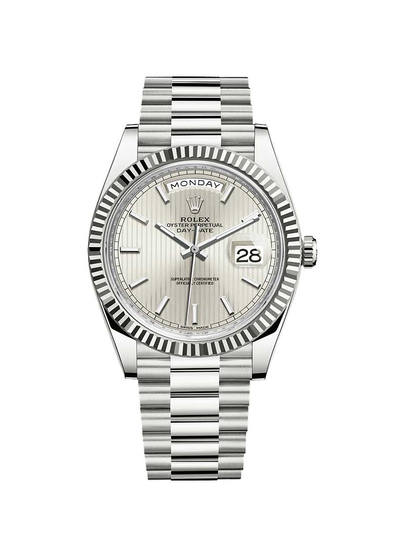 Pre-Owned Rolex Day Date 40mm White Gold with Fluted Bezel