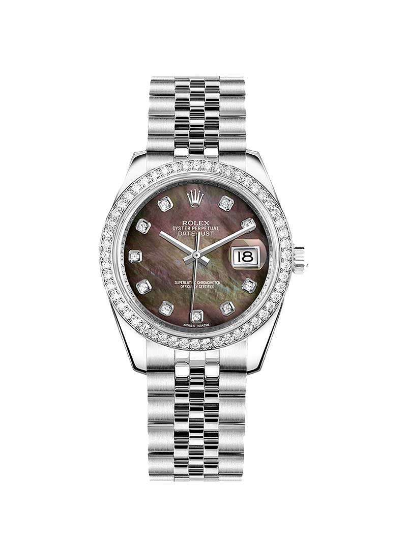 Pre-Owned Rolex Datejust 31mm in Steel with White Gold Diamond Bezel