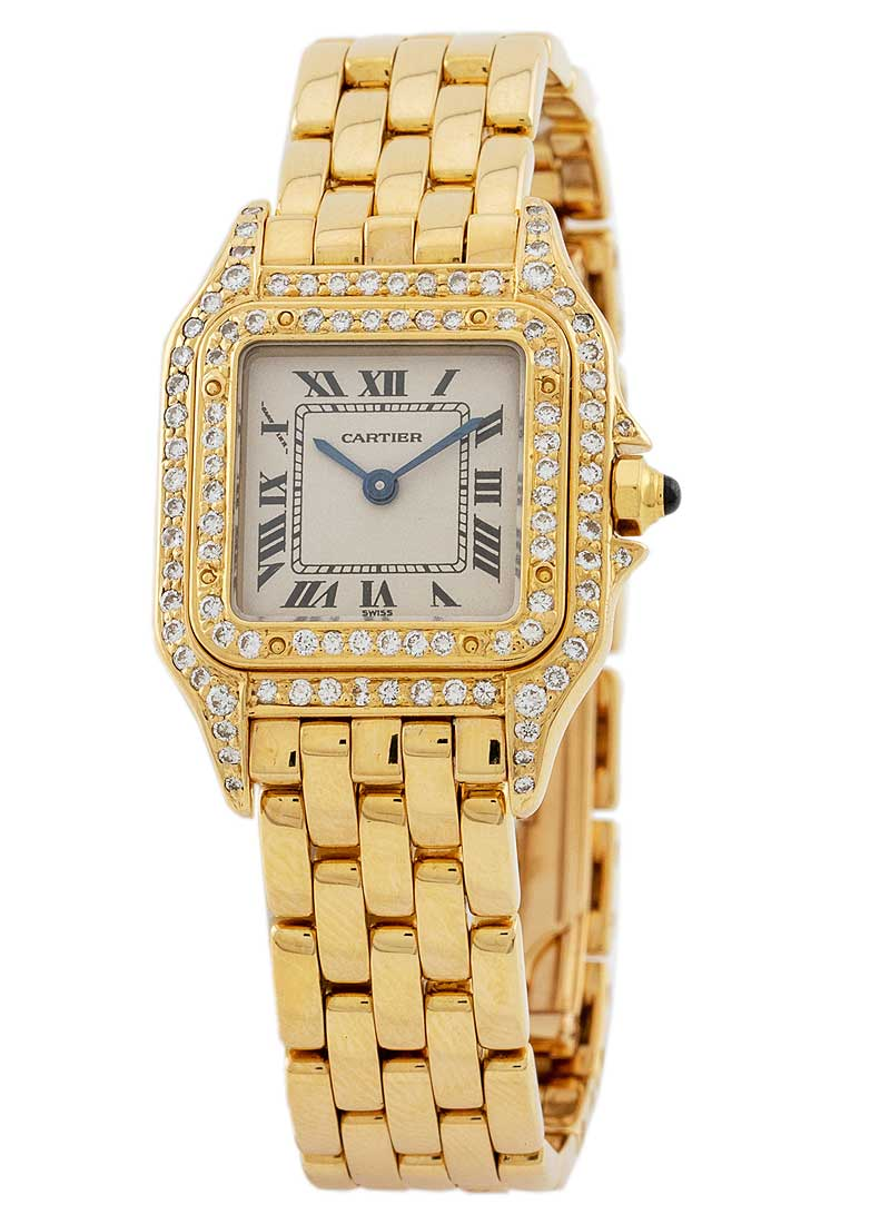 Cartier Panthere 22mm No Date in Yellow Gold with Diamond Bezel