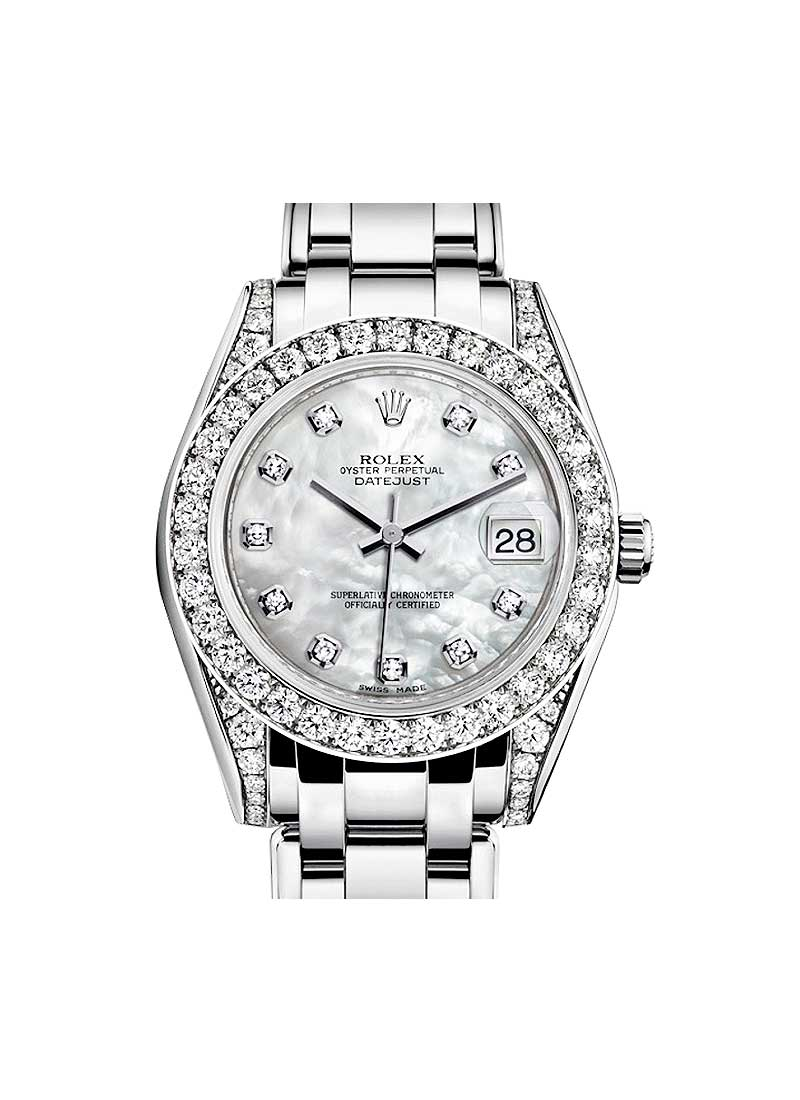 Pre-Owned Rolex Mid Size Masterpiece 34mm in White Gold with Diamond Bezel and Lugs