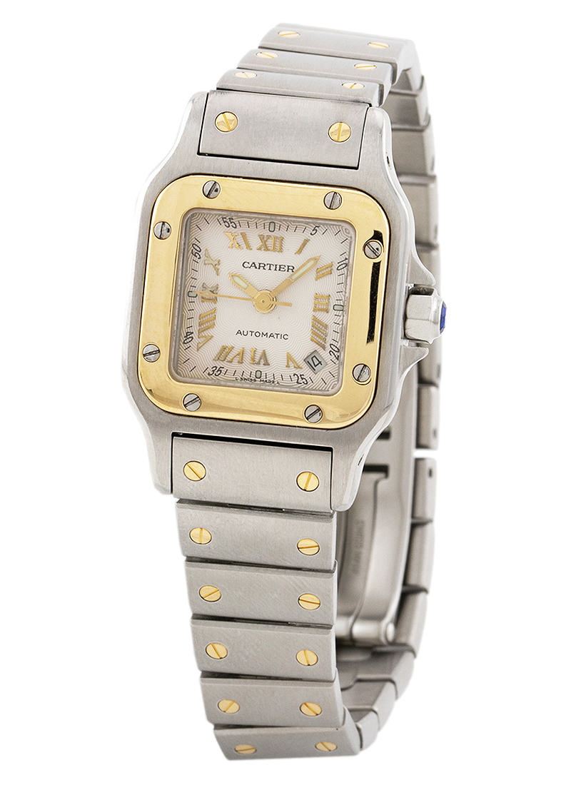 Cartier Santos de Cartier in Steel with Yellow Gold Bezel