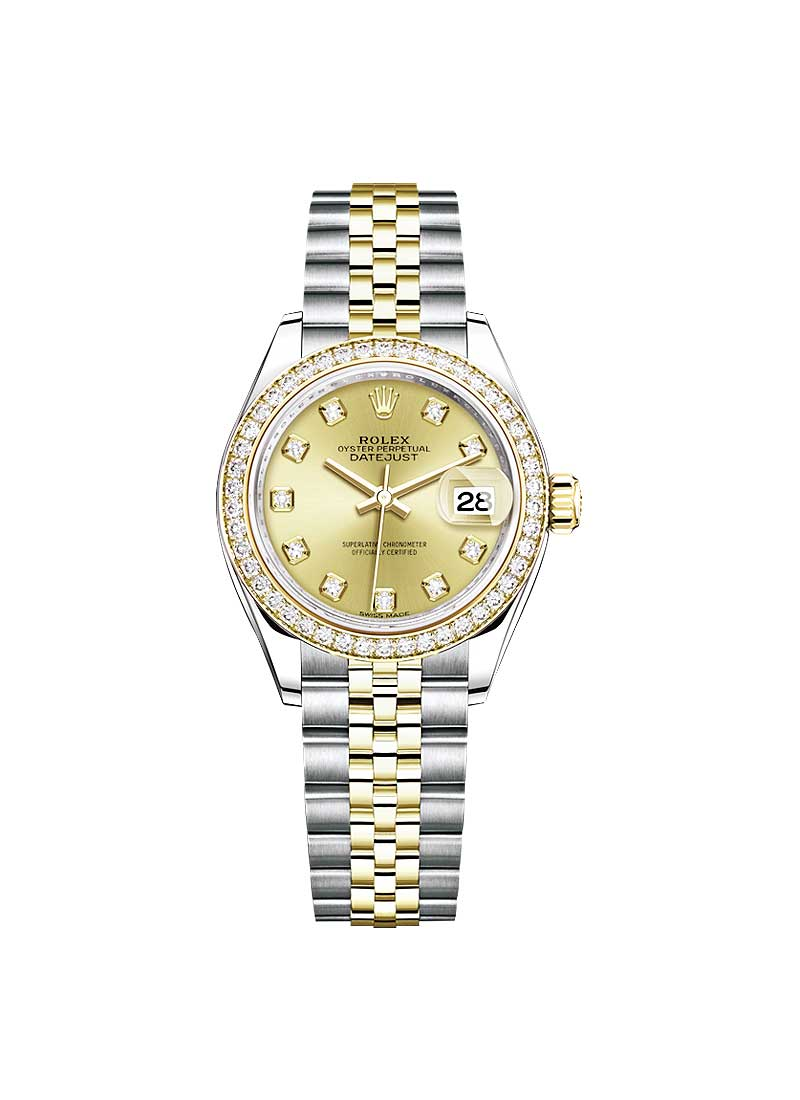 Pre-Owned Rolex Ladies 28mm Datejust in Steel with Yellow Gold Diamond Bezel