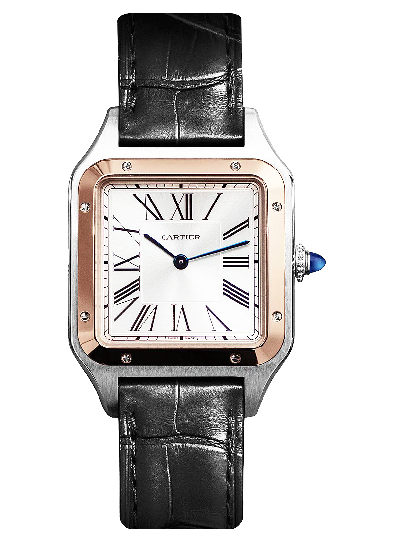 Cartier Santos Dumont in Steel with Rose Gold Bezel