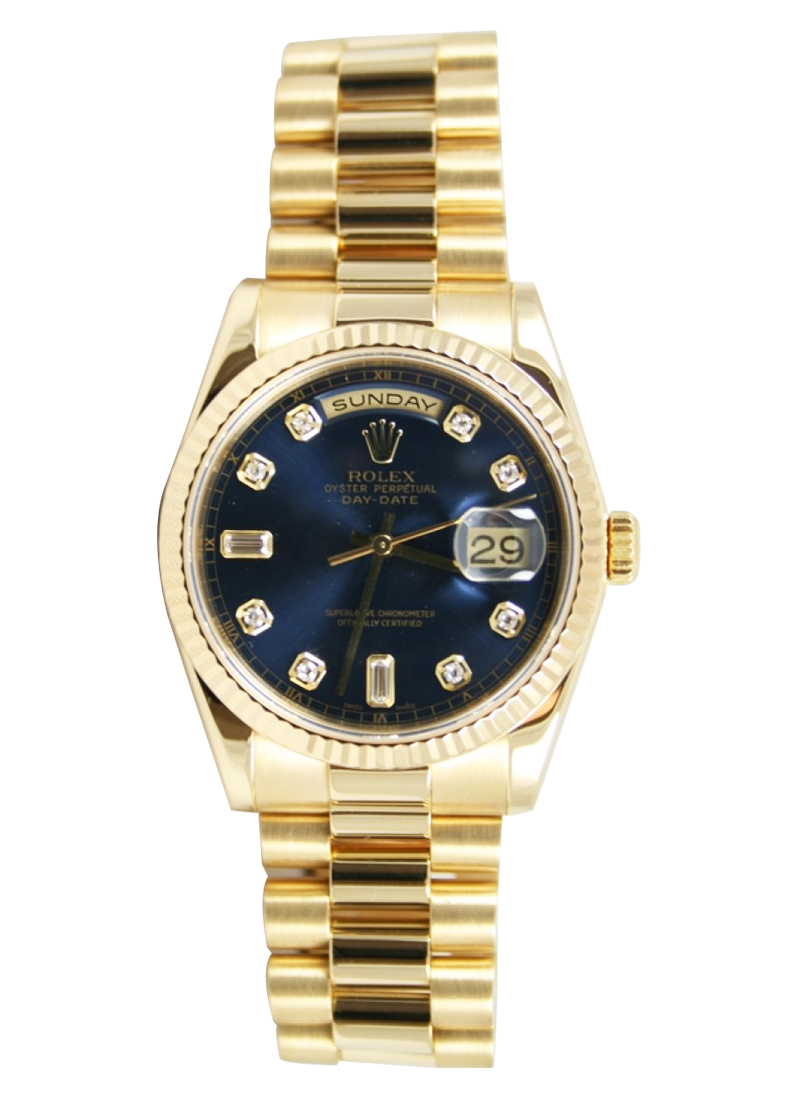 Pre-Owned Rolex Presidential New Style 36mm in Yellow Gold with Fluted Bezel
