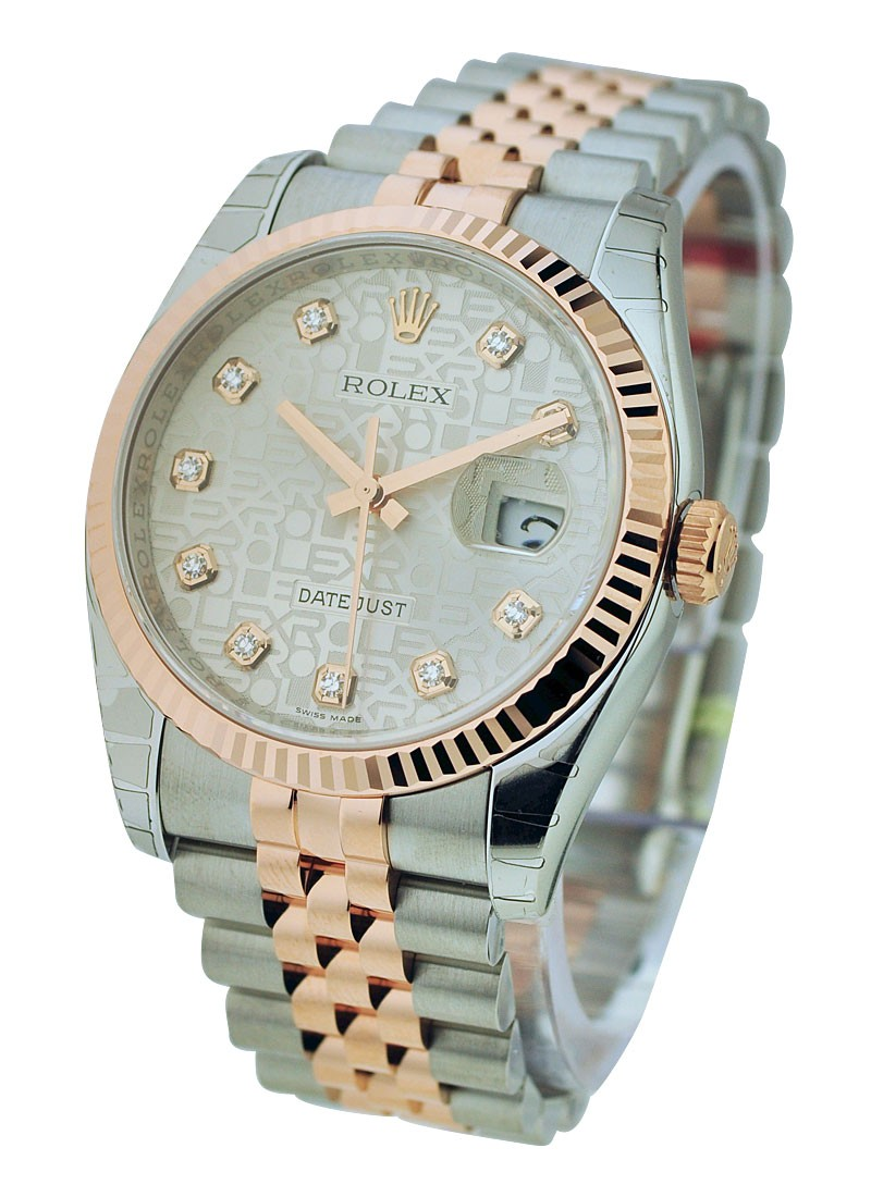 Pre-Owned Rolex Datejust 36mm in Steel with Rose Gold Fluted Bezel