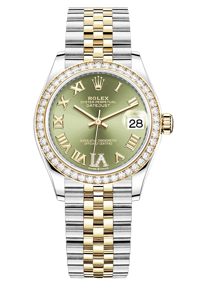 Rolex Unworn Mid Size 31mm Datejust in Steel with Yellow Gold Diamond Bezel