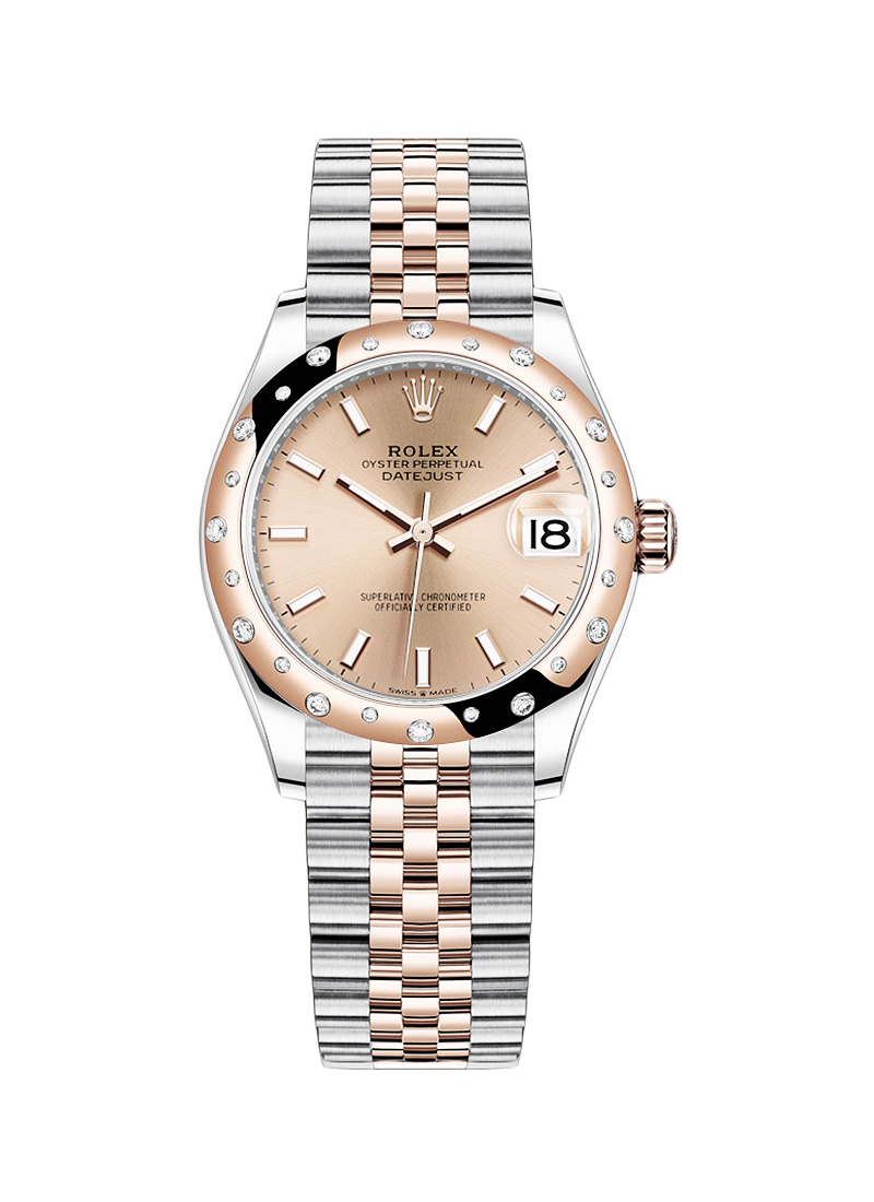 Rolex Unworn Datejust 31mm in Steel with Rose Gold 24 Diamond Bezel