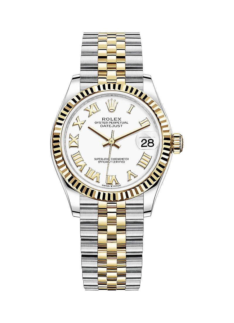 Rolex Unworn Midsize Datejust 31mm in Steel with Yellow Gold Fluted Bezel