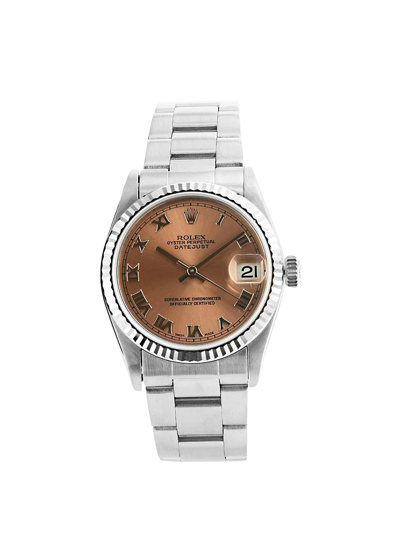 Pre-Owned Rolex Lady's 26mm Datejust in Steel with White Gold Fluted Bezel