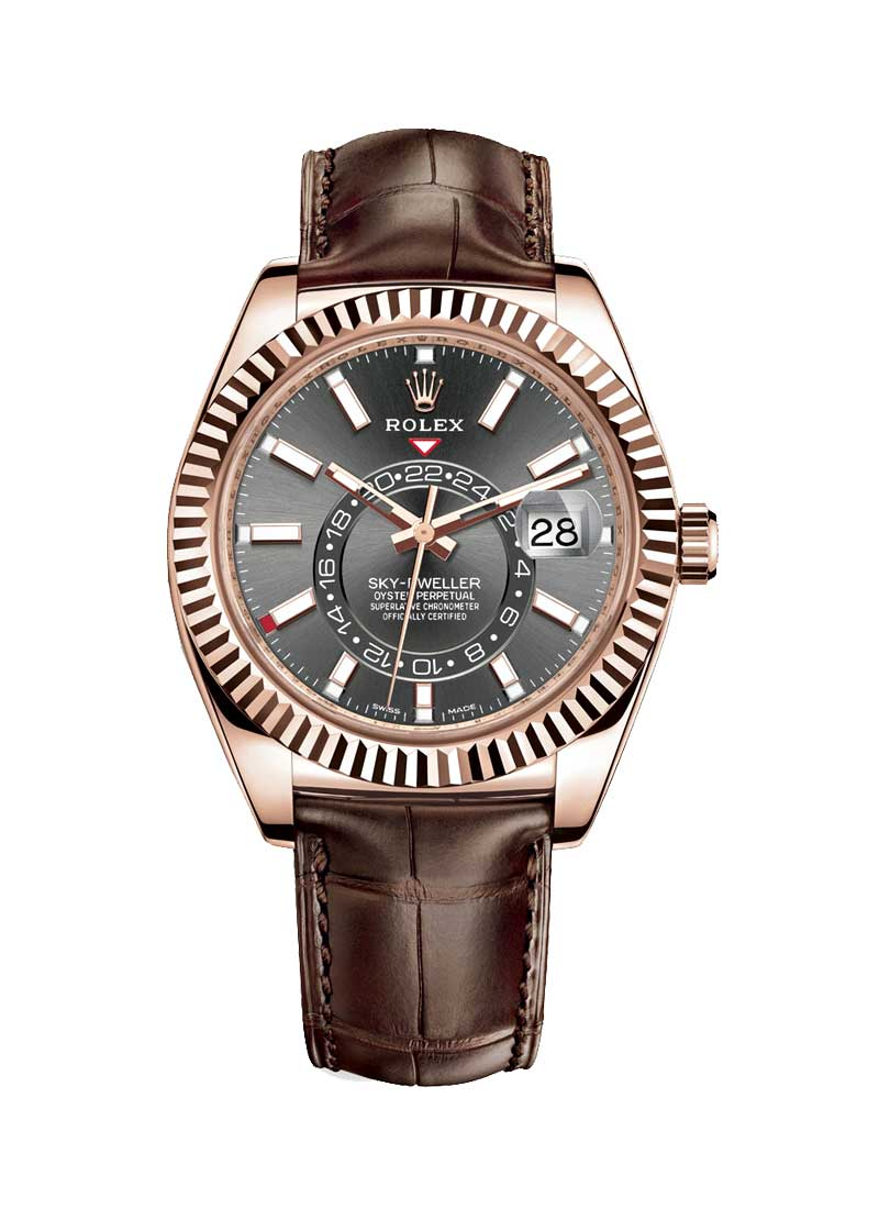 Pre-Owned Rolex Sky Dweller 42mm in Rose Gold with Fluted Bezel