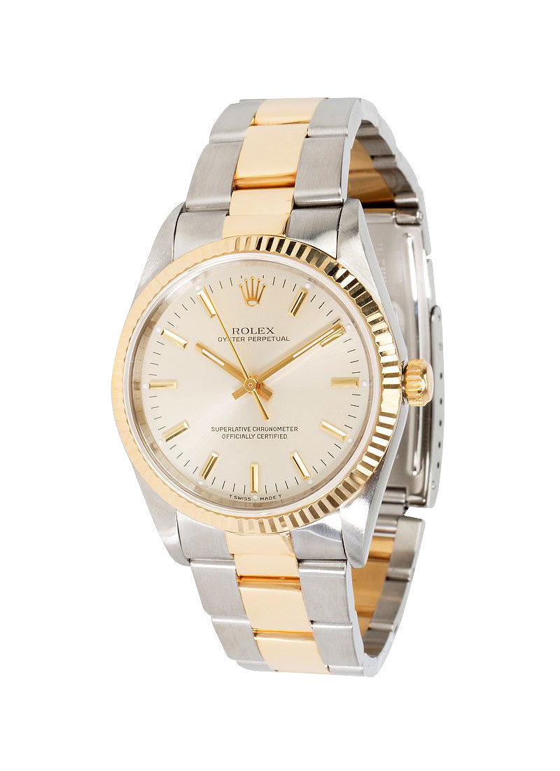 Pre-Owned Rolex Oyster Perpetual No Date 34mm in Steel with Yellow Gold Fluted Bezel