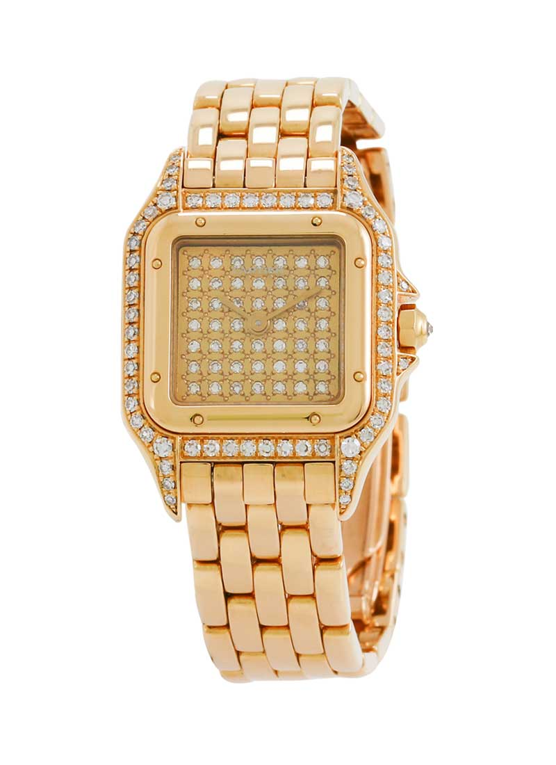 Cartier Panthere 22mm No Date in Yellow Gold - Diamonds on Case