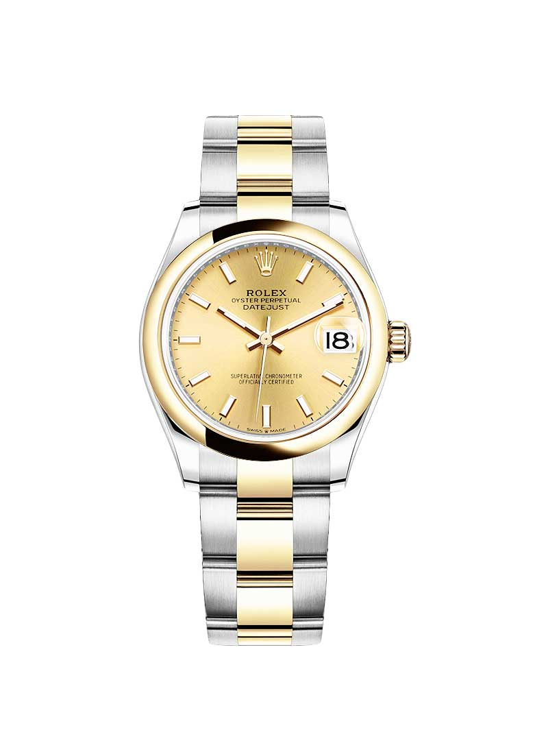 Rolex Unworn Datejust 31mm in Steel with Yellow Gold Domed Bezel