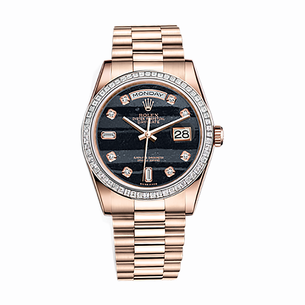 Rolex Unworn President Day Date 36mm in Rose Gold with Baguette Diamond Bezel