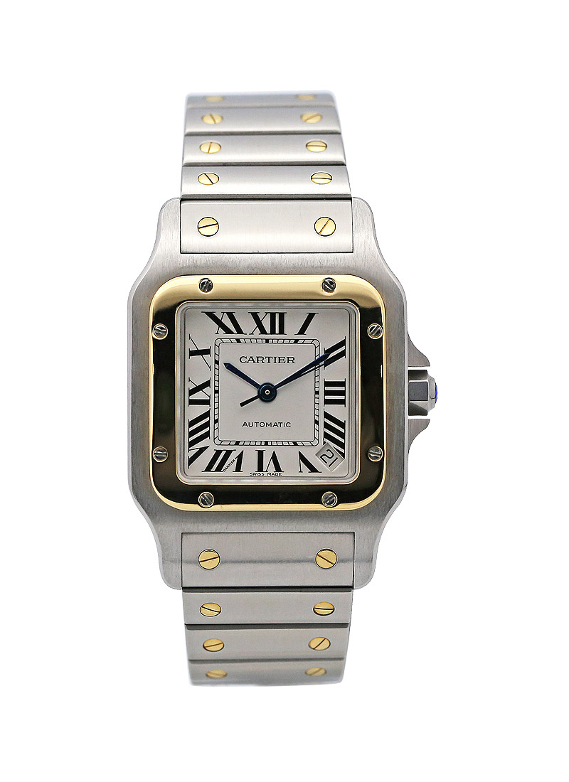 Cartier Santos 100 L size Automatic in Steel with Yellow Gold Bezel