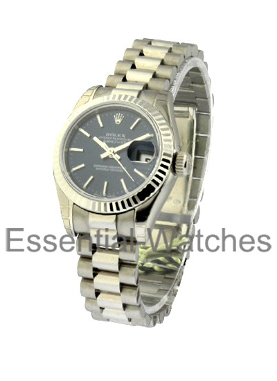 Rolex Unworn Lady's President in White Gold with Fluted Bezel