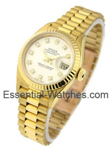 Rolex Used Ladies Datejust 26mm in Yellow Gold with Fluted Bezel